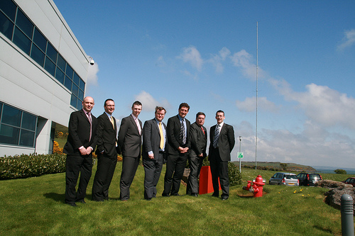 Cllr. Dominick Donnelly, Minister Eamon Ryan and Senator Dan Boyle with senior managment at DePuy, Ringaskiddy