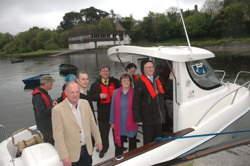 Minister John Gormley with Cork Green Party candidates, before going on boat trip of Cork Harbour